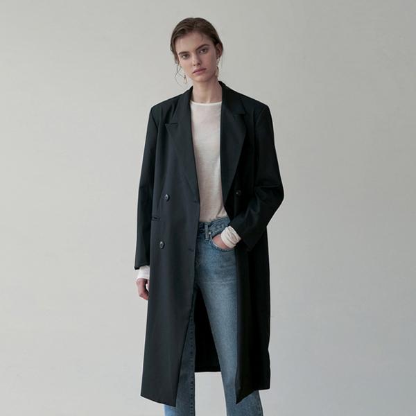 MODERN DOUBLE LONG COAT_BLACK