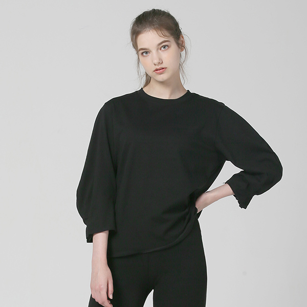 [플라이런웨이]FW 솔리드 퍼프 티셔츠_BLACK