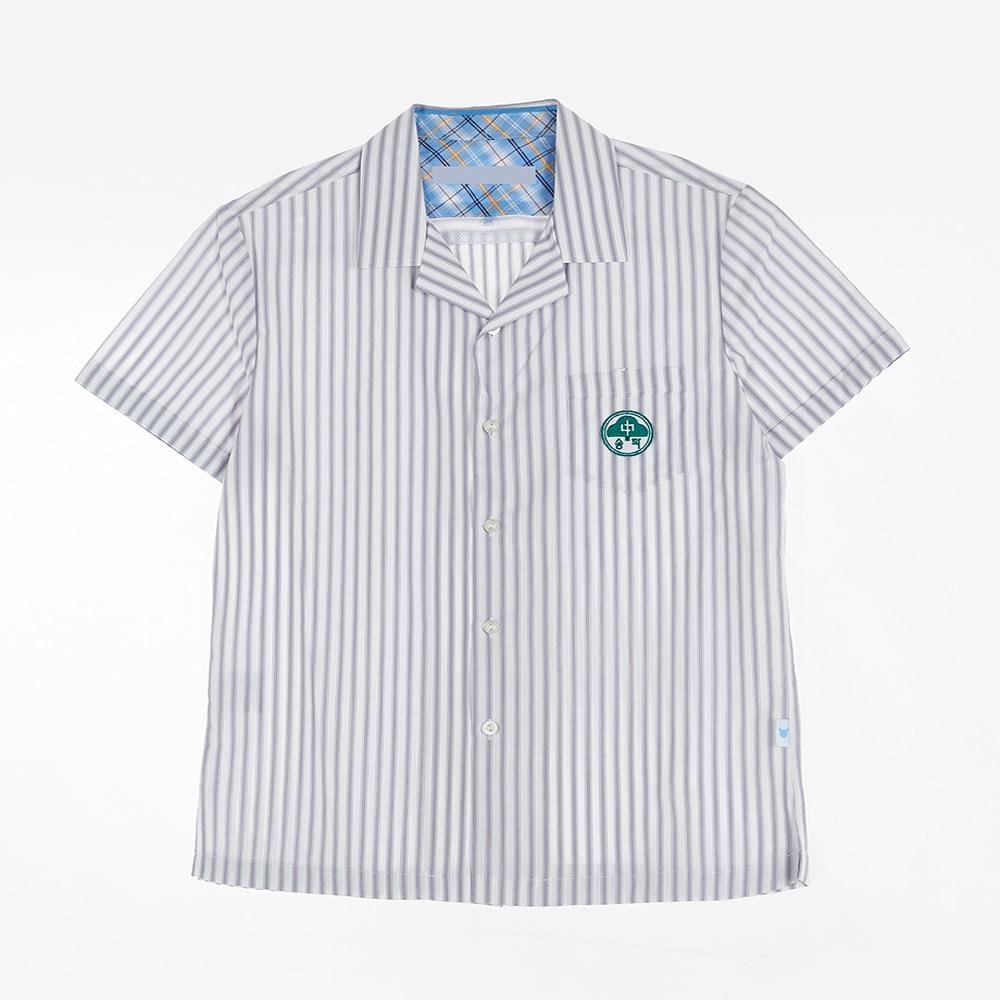 [교복아울렛] 그레이 스트라이프 하복 남자셔츠 교복