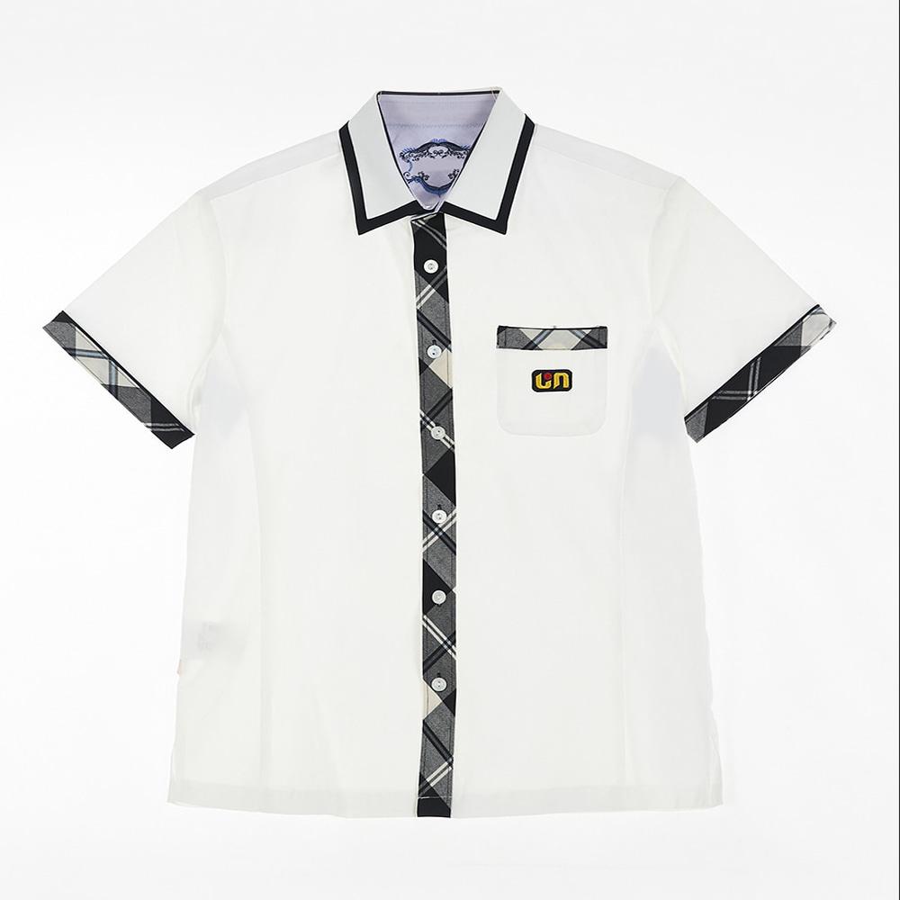 [교복아울렛] 화이트 그레이체크 남자 와이셔츠 교복