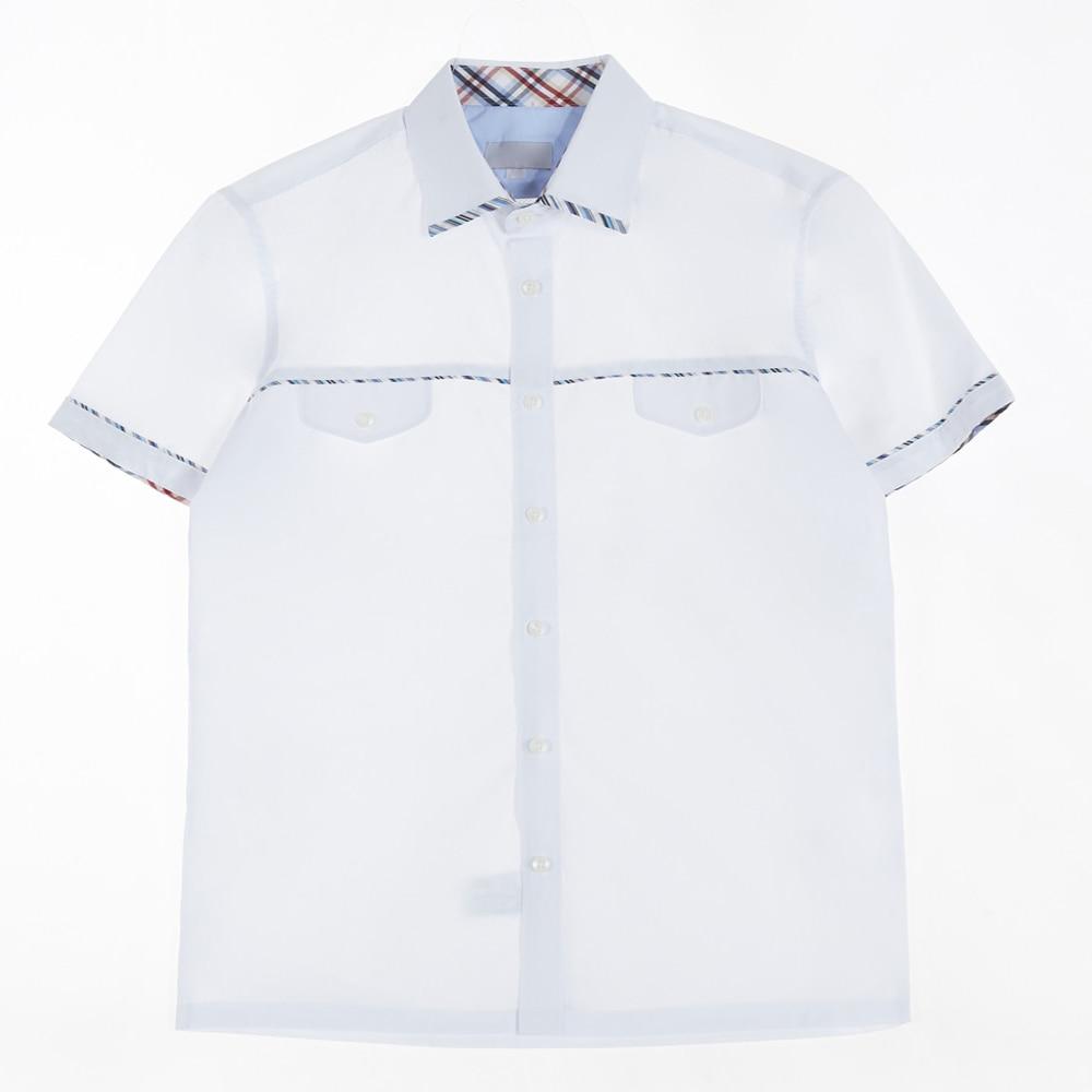 [교복아울렛] 블루 라인 화이트 반팔 셔츠 교복 학교
