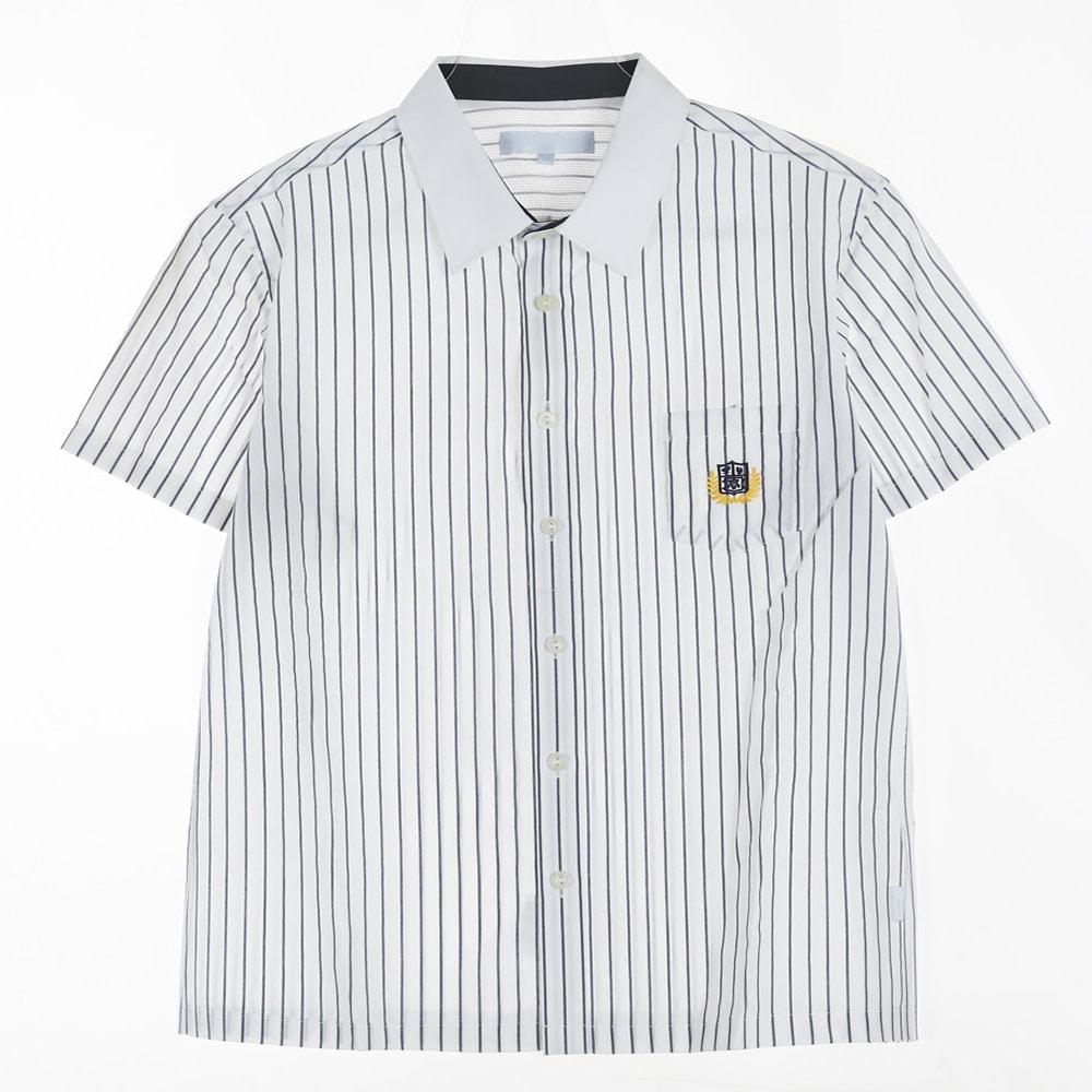 [교복아울렛] 화이트 스트라이프 반팔 셔츠 교복 학교
