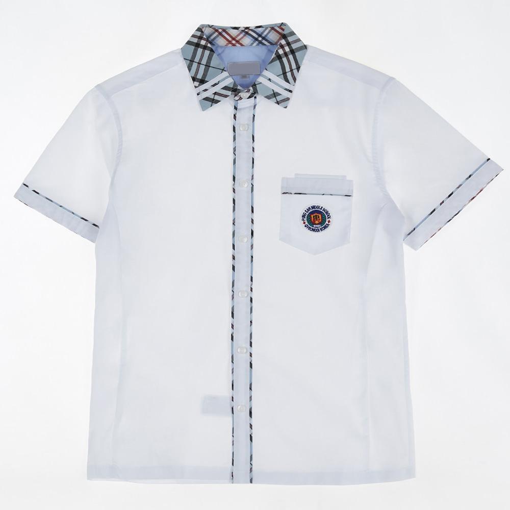 [교복아울렛] 하늘 체크 라인 반팔 셔츠(풍산중) 교복