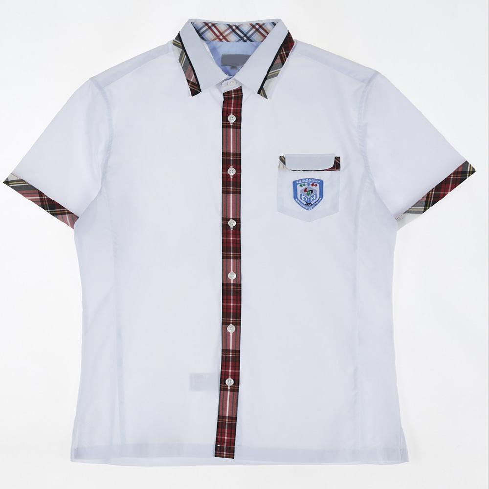 [교복아울렛] 레드 체크 반팔 셔츠(대화고) 교복