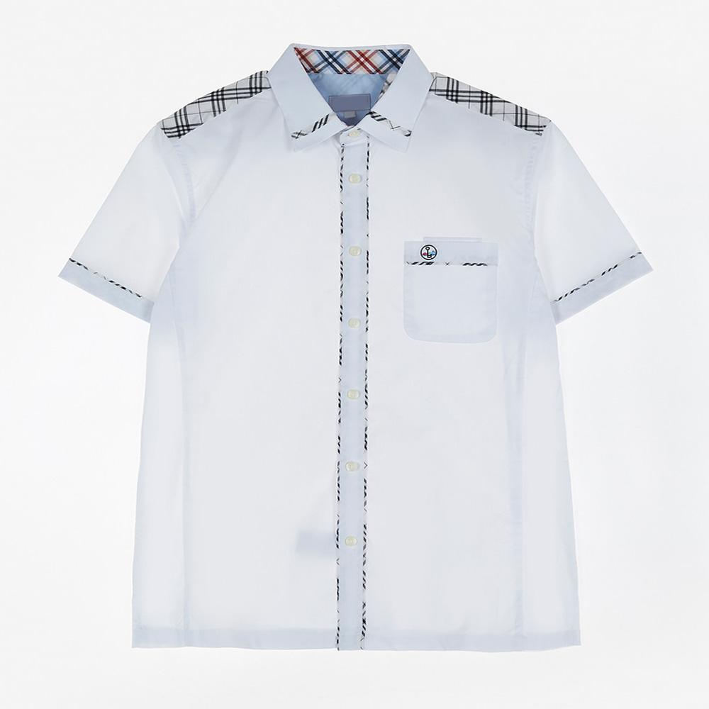 [교복아울렛] 베이지 체크 라인 반팔 셔츠 (와부고)