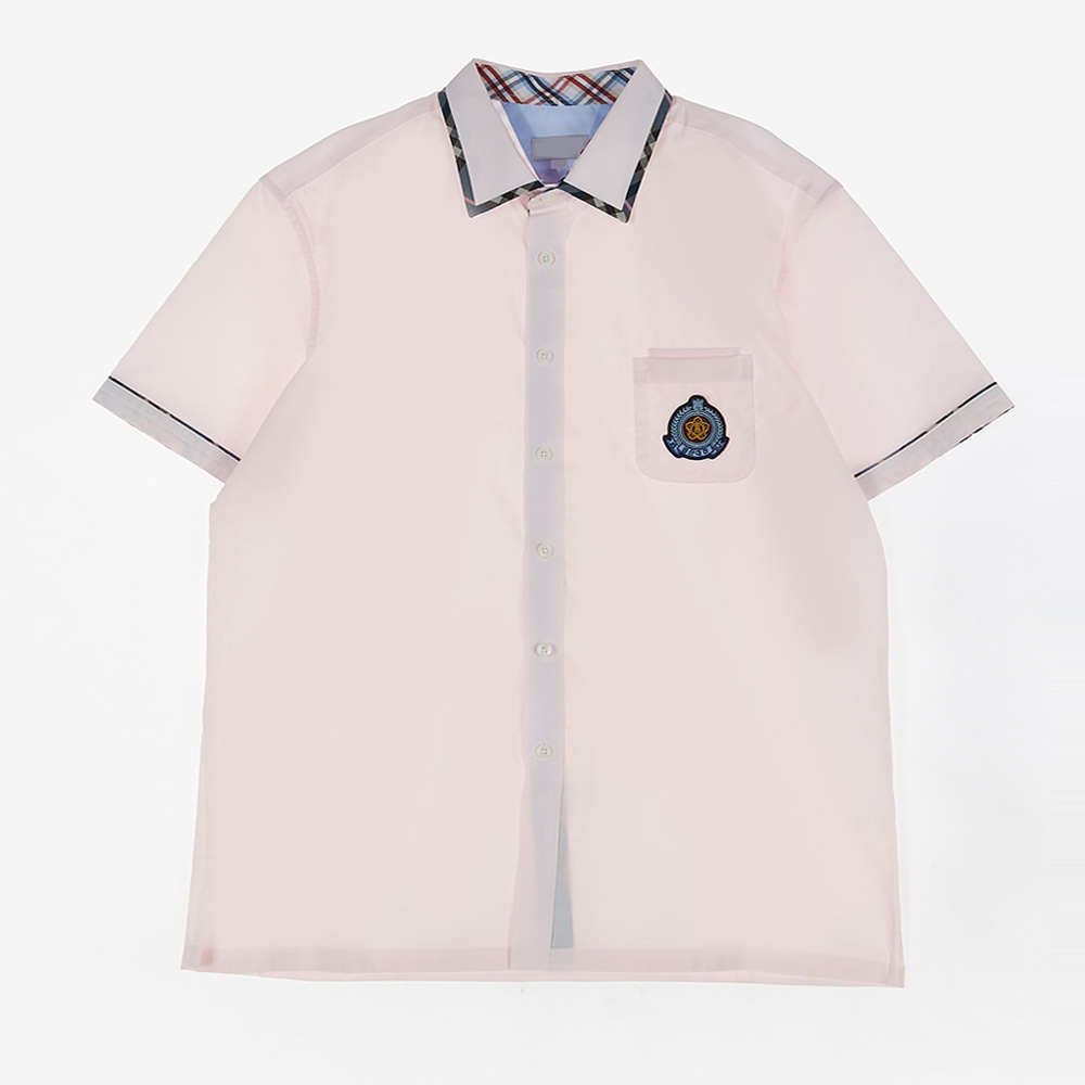 [교복아울렛] 카라 체크라인 핑크 셔츠 (대진고) 교복