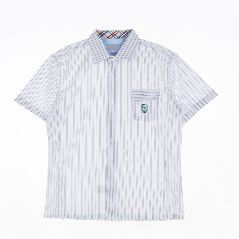 [교복아울렛] 두줄 스트라이프 남자 반팔셔츠