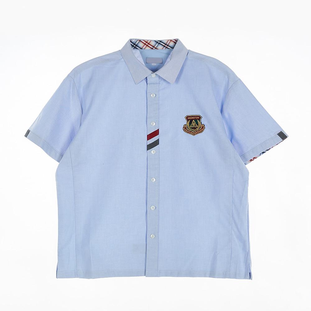 [교복아울렛] 사선 컬러 포인트 소라색 남자 반팔셔츠