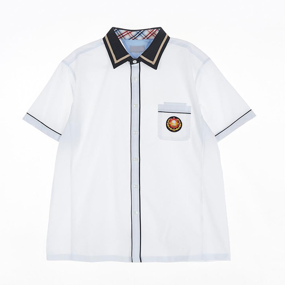 [교복아울렛] 블랙 베이지라인 카라 남자 반팔셔츠
