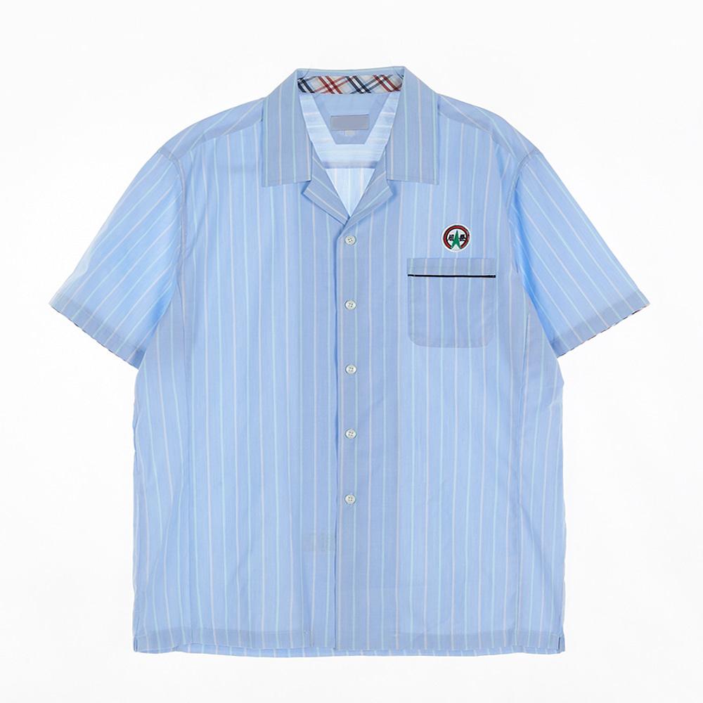 [교복아울렛] 라이트 블루 스트라이프 남자 반팔셔츠