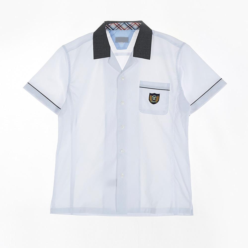 [교복아울렛] 카라 배색 라인 반팔 남자 셔츠(가원중)