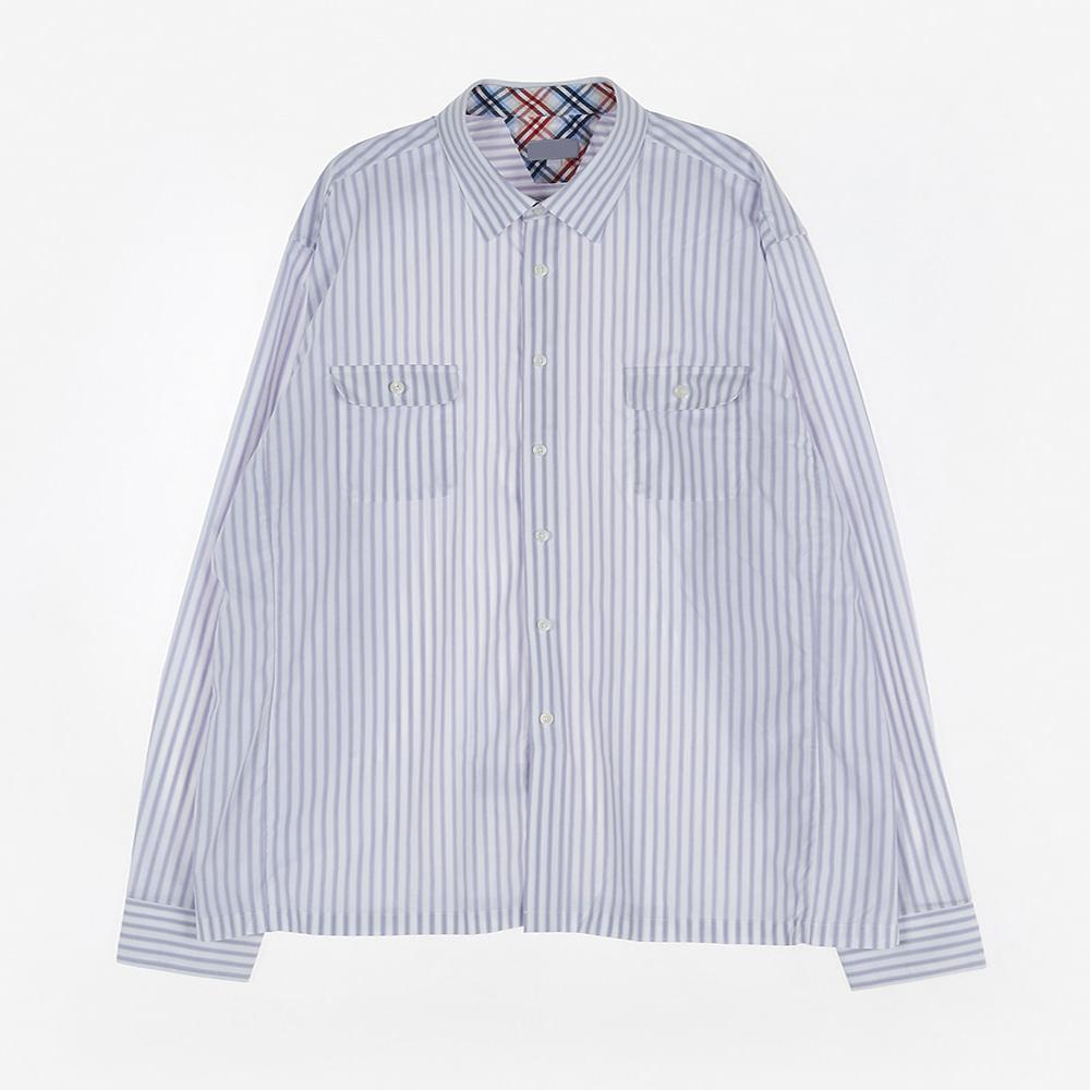 [교복아울렛] 투포켓 블루 스트라이프 셔츠 (장성중)