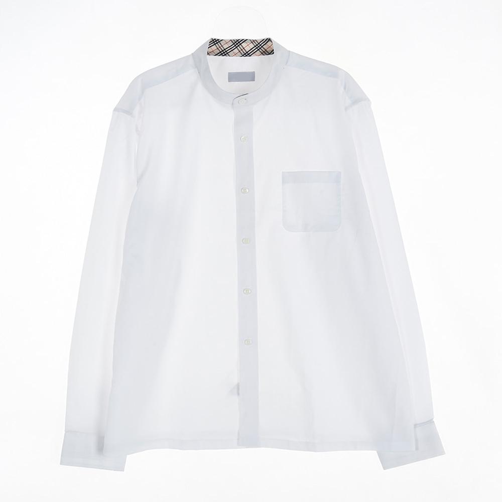 [교복아울렛] 베이지 체크 노카라 남자 셔츠 (사우고)