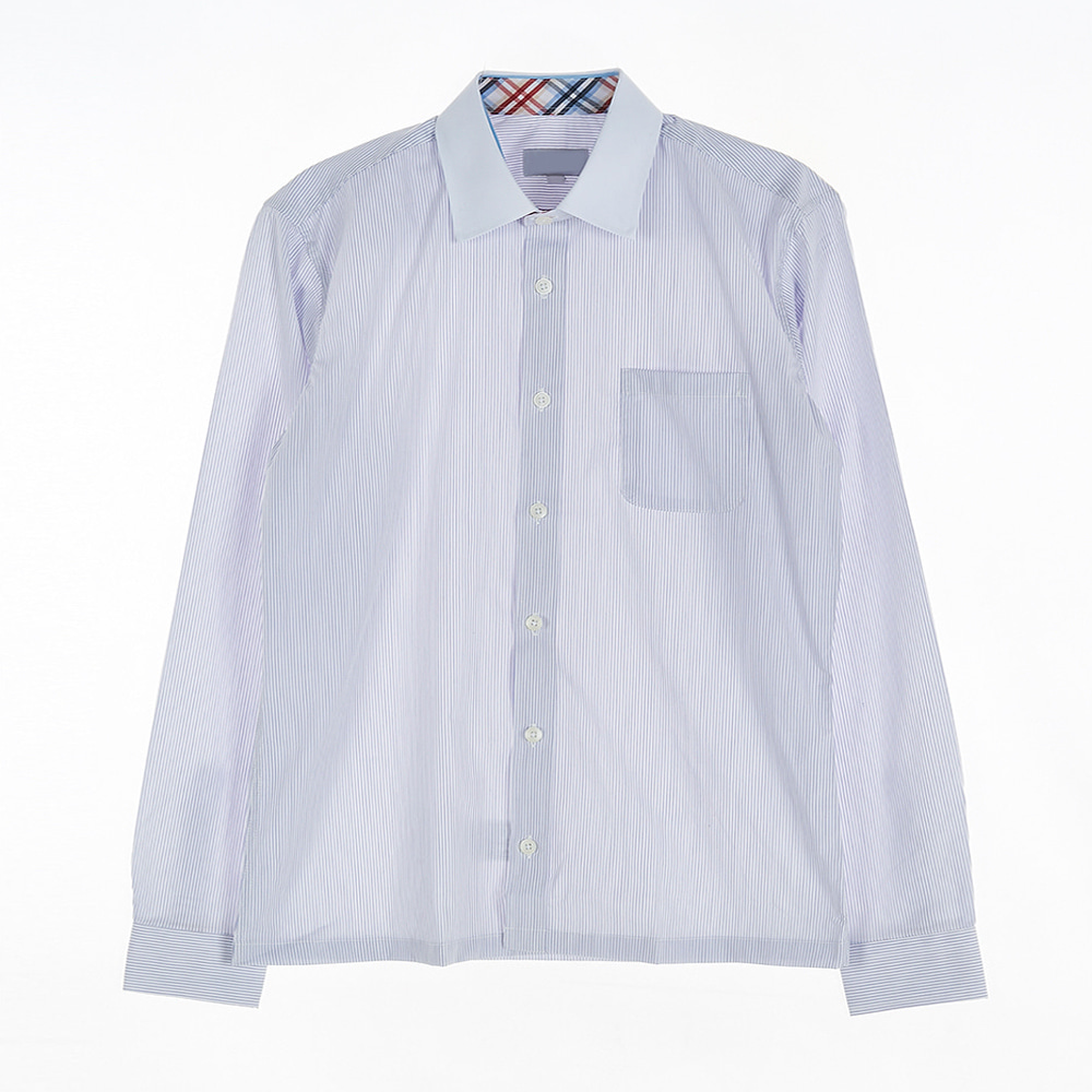 [교복아울렛] 블루 스트라이프 각카라 남자 셔츠