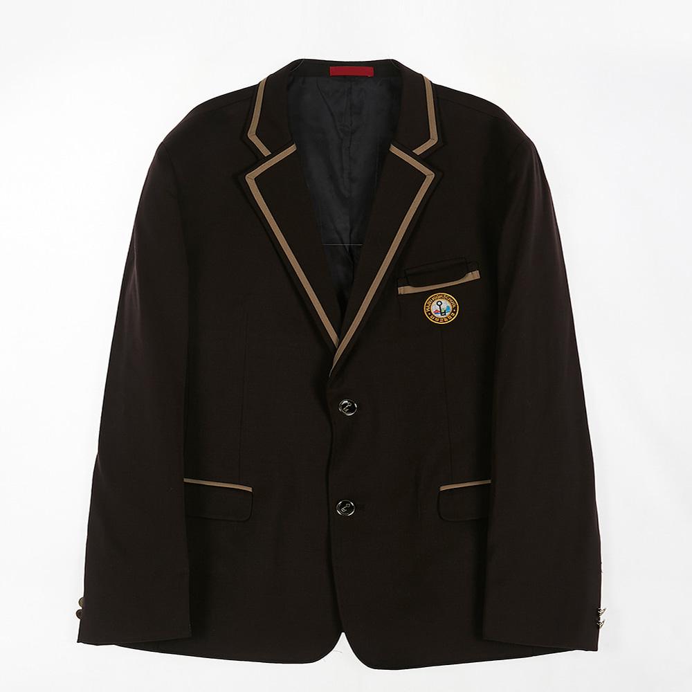 [교복아울렛] 베이지 라인 브라운 남자 자켓 (와부고)