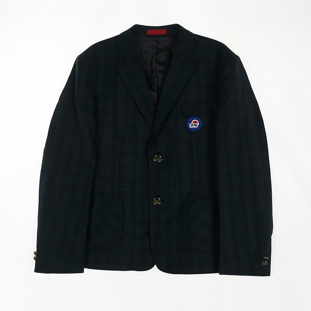 [교복아울렛] 그린 체크 투버튼 남자 자켓 (가락고)