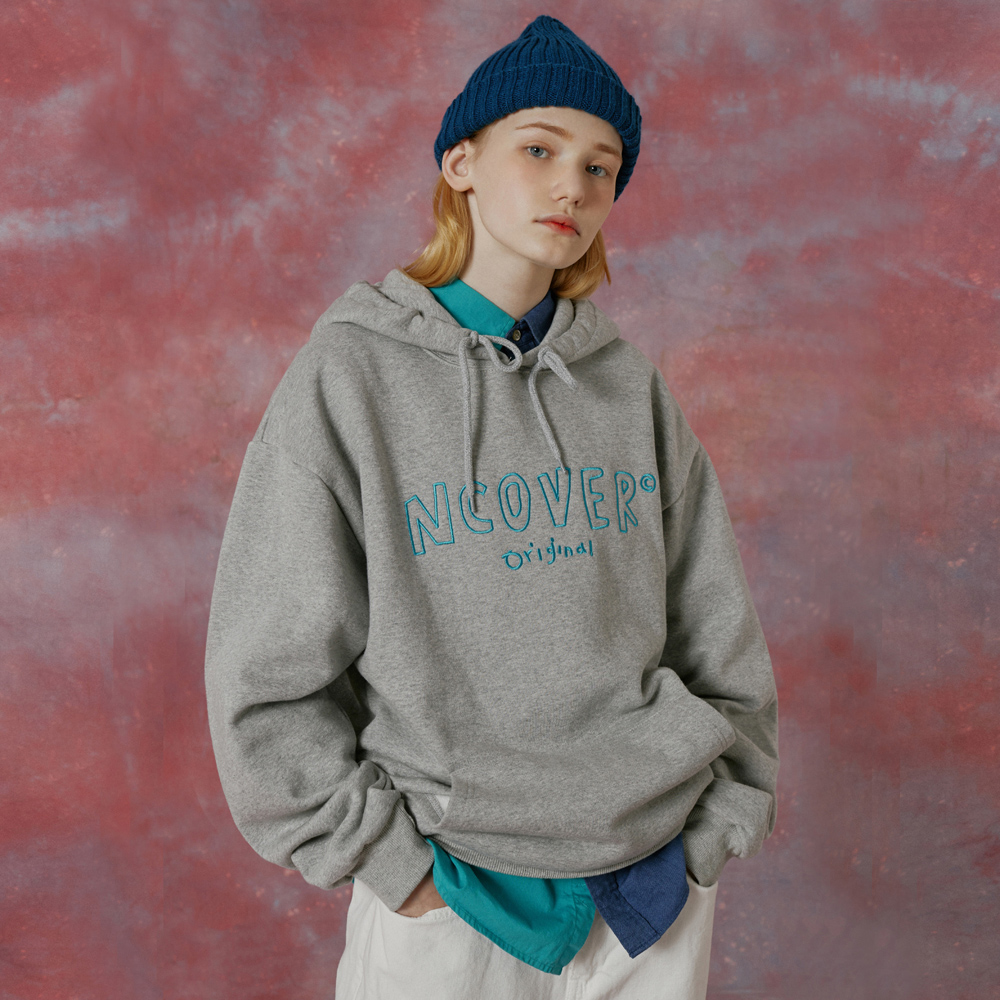Handwriting original outline hoodie-grey