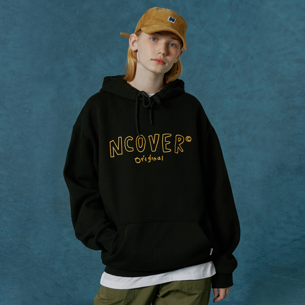 Handwriting original outline hoodie-black