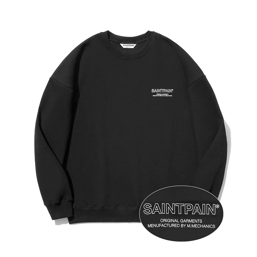SP Out Line Logo Crew Neck-Black