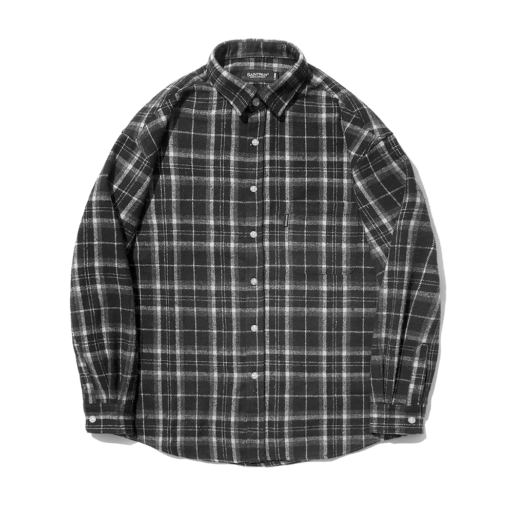 [패밀리세일]SP Loose Fit Muse Check Shirts-Black