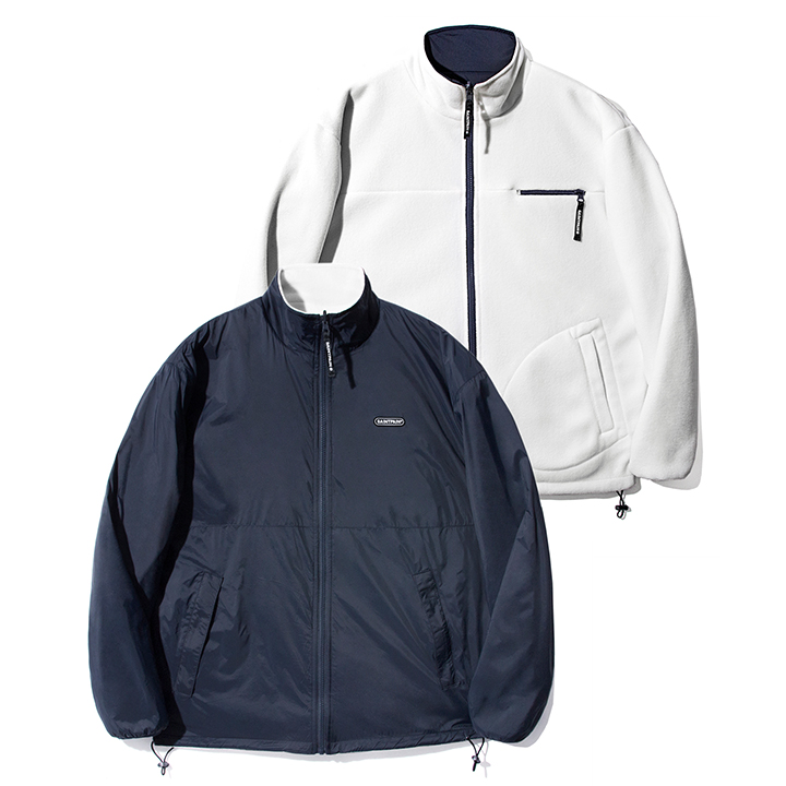 SP MONO REVERSIBLE FLEECE JACKET-WHITE