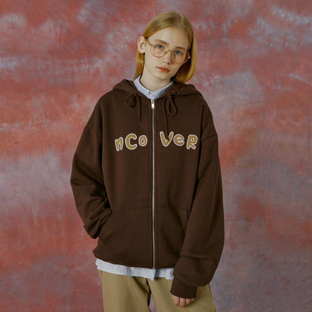 Signature patch logo hoodie zipup-brown