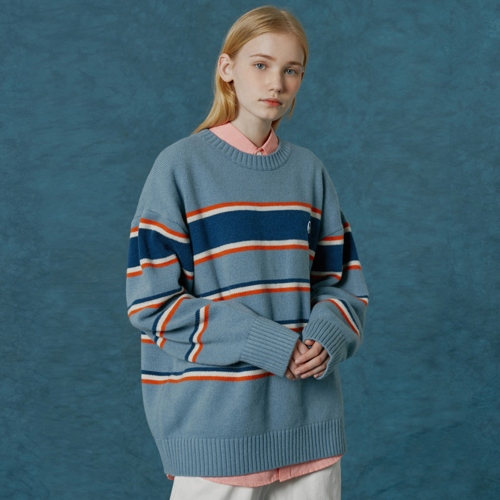 Small original logo stripe knit-sky blue