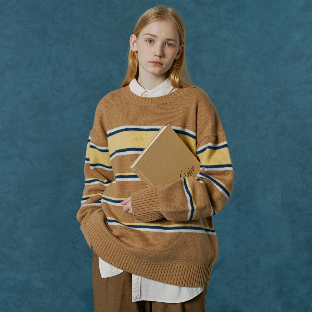 Small original logo stripe knit-camel
