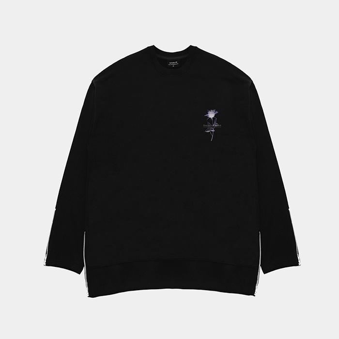 [단독할인]800g premium cotton ziper glass flower black 맨투맨