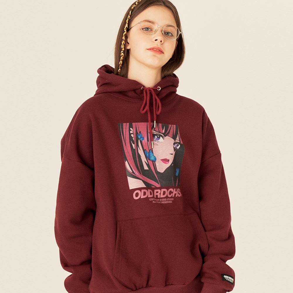 [스티커팩 증정] 크라잉 후드 티셔츠 - BURGUNDY