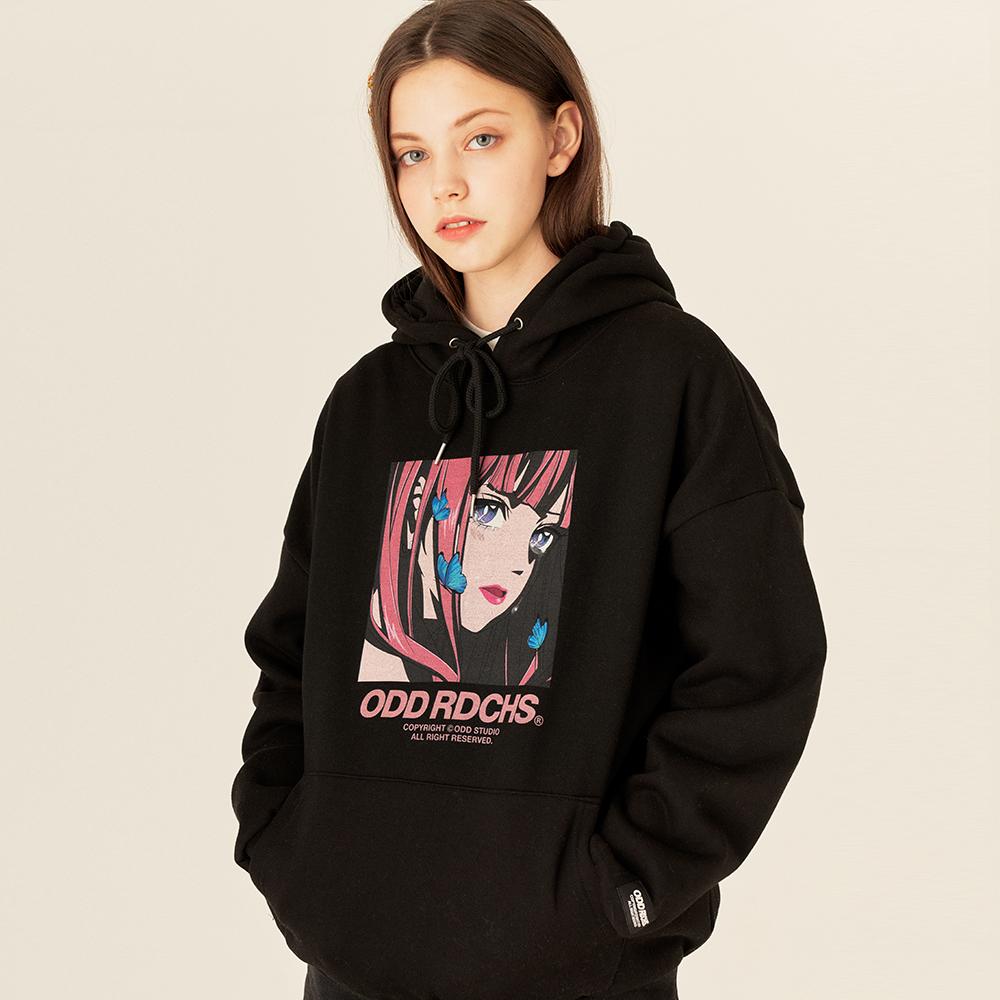 [스티커팩 증정]오드 러디칙스 크라잉 후드 티셔츠 - BLACK