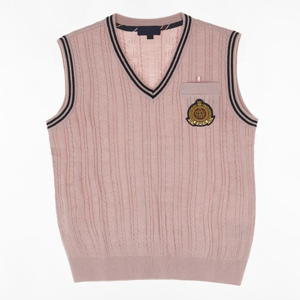 [교복아울렛] 핑크 꽈배기 라인 조끼 (일산 대진고)
