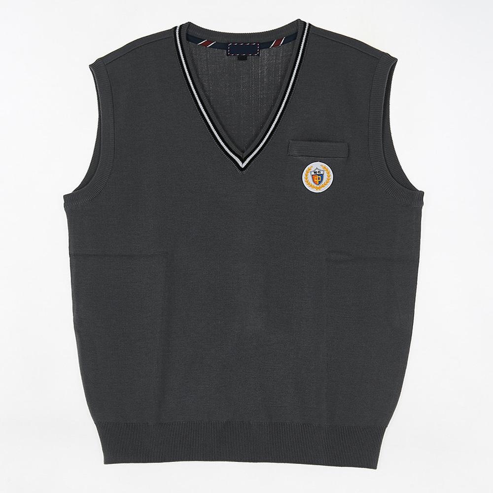 [교복아울렛] 그레이 블랙 화이트라인 포켓 조끼 교복