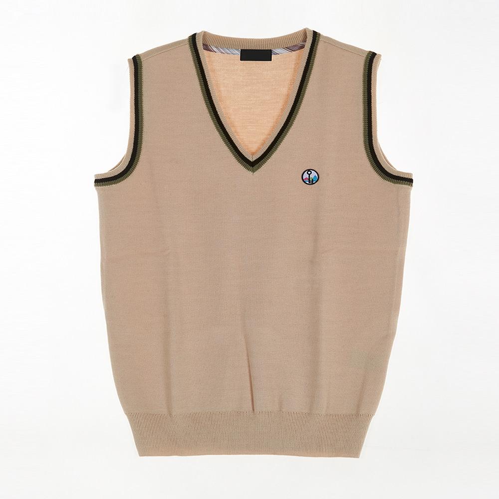 [교복아울렛] 베이지 블랙 라인 조끼 (와부고) 교복