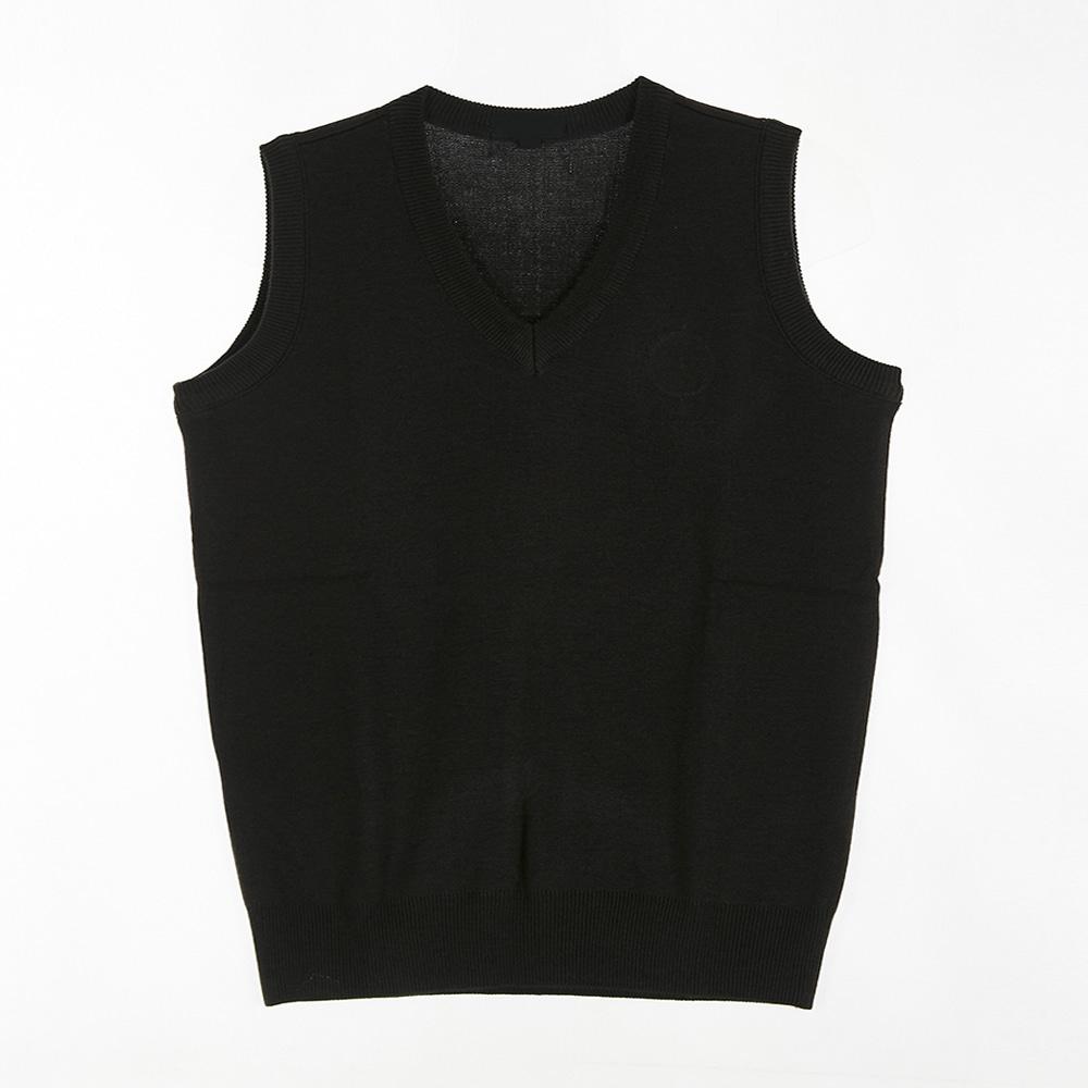 [교복아울렛] 올블랙 브이넥 조끼 (외왕고) 교복 학교