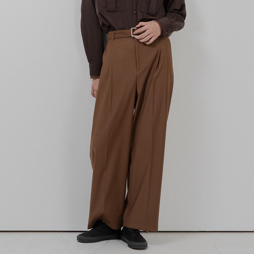 BF belt twotuck wide slacks brown