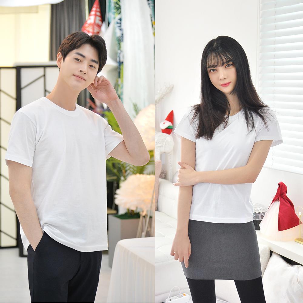 남녀공용 화이트 기본 티셔츠 3장 흰티 반팔 교복이너