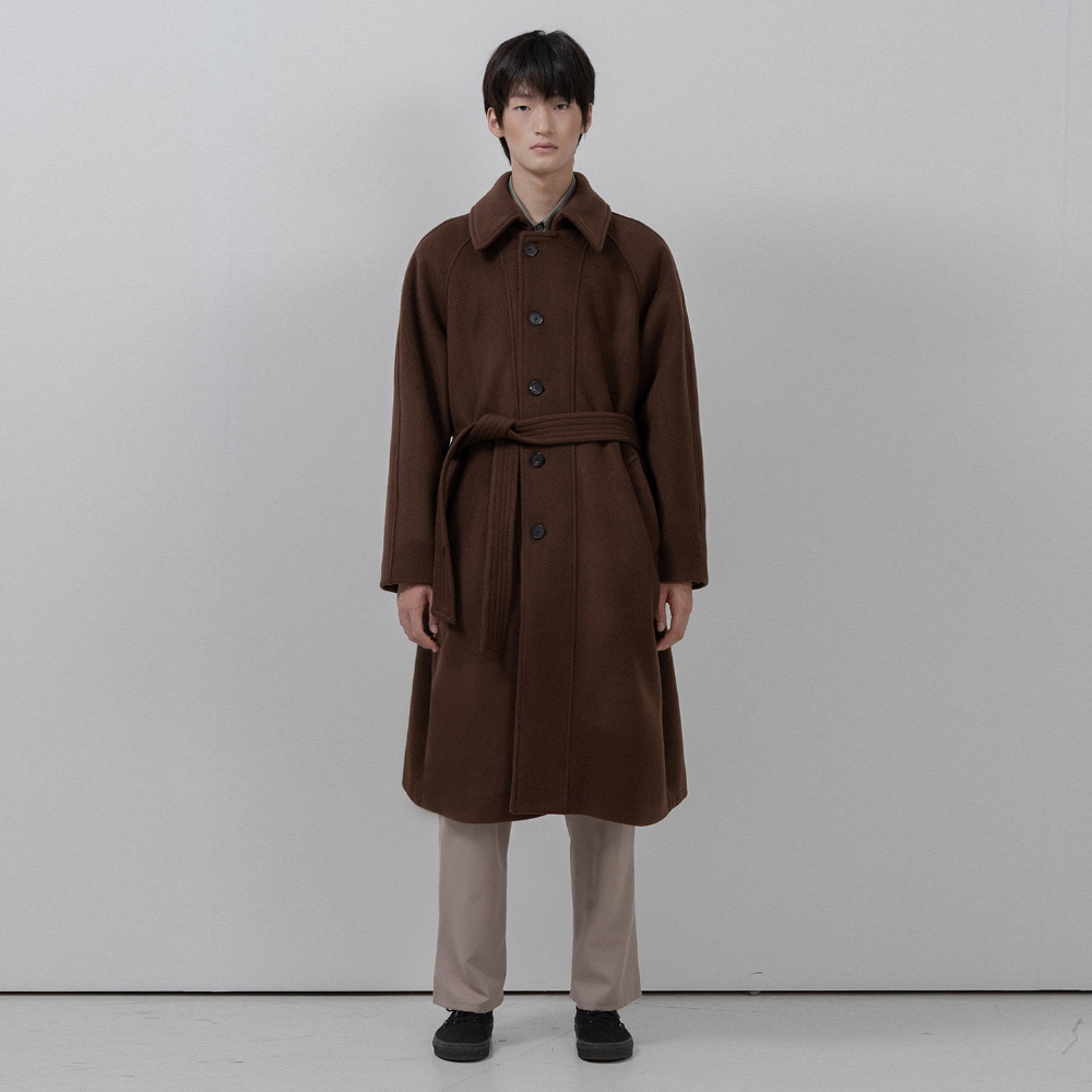 BF wool raglan mac coat brown