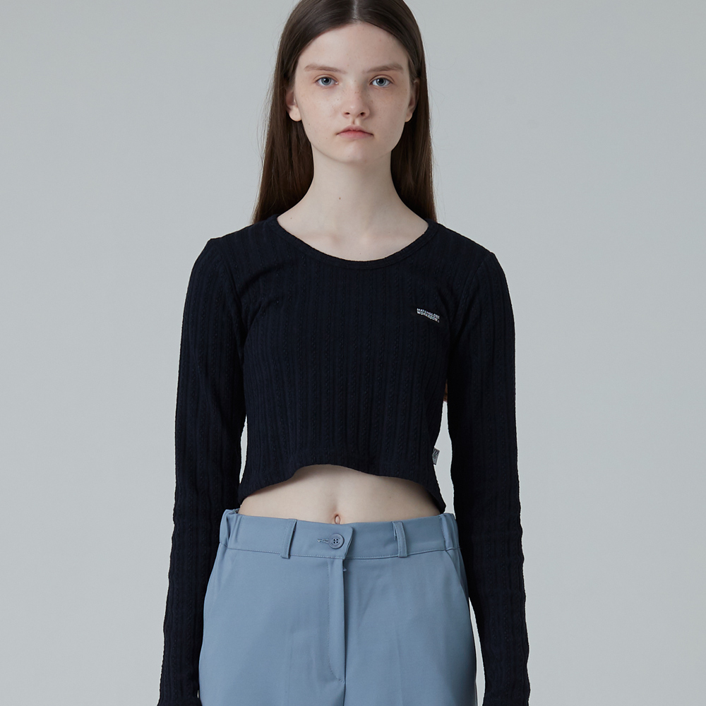 MG0F CROP POINT KNIT TEE (NAVY)