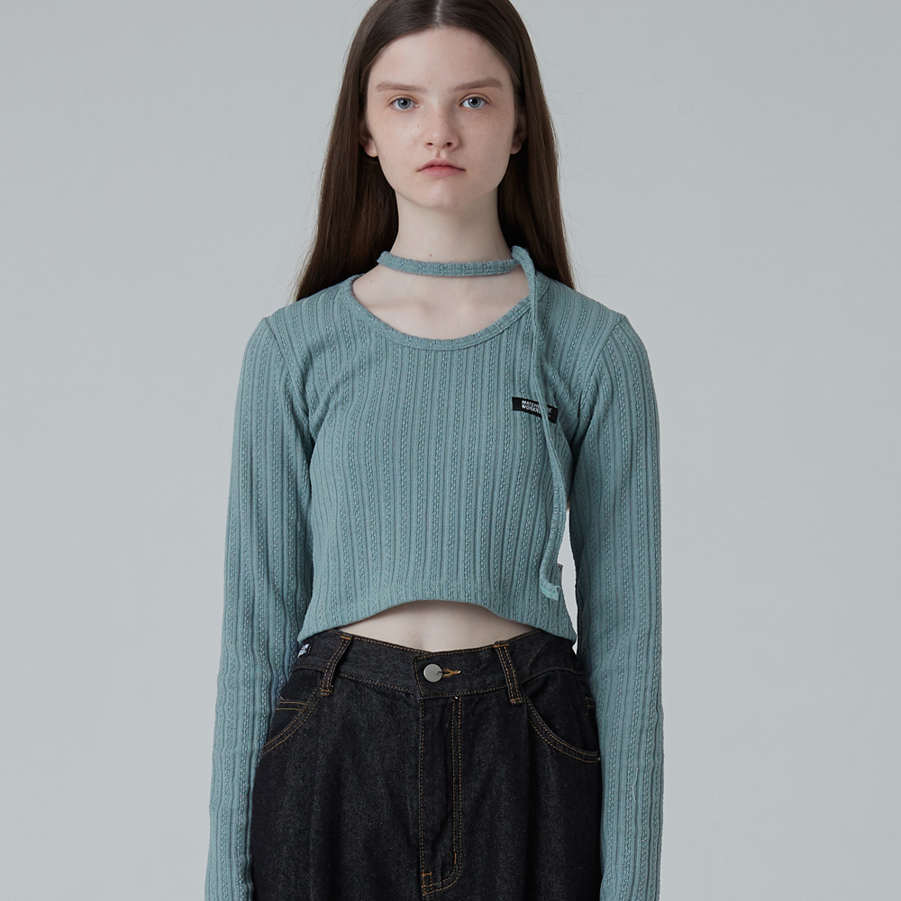 MG0F CROP POINT KNIT TEE (BLUE)