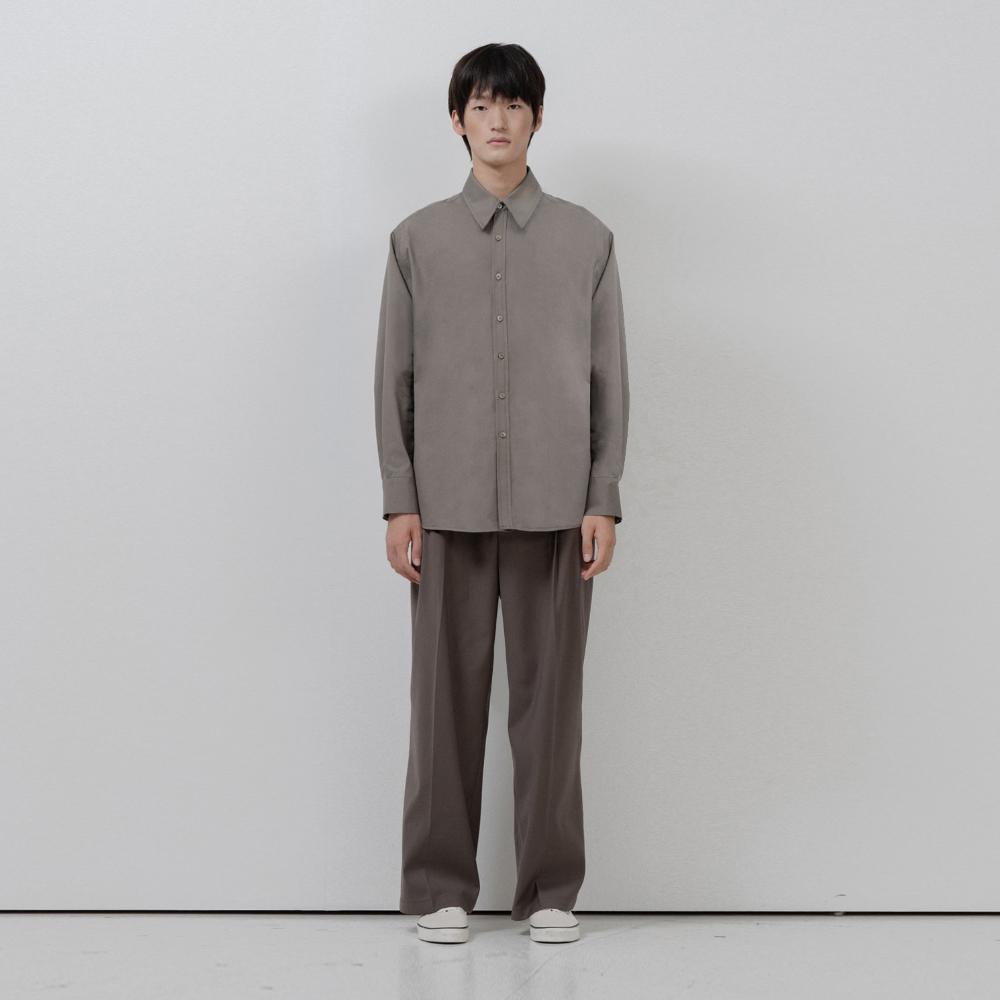 BF back pintuck basic shirt khaki
