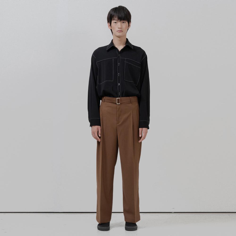BF stitch pocket shirt black
