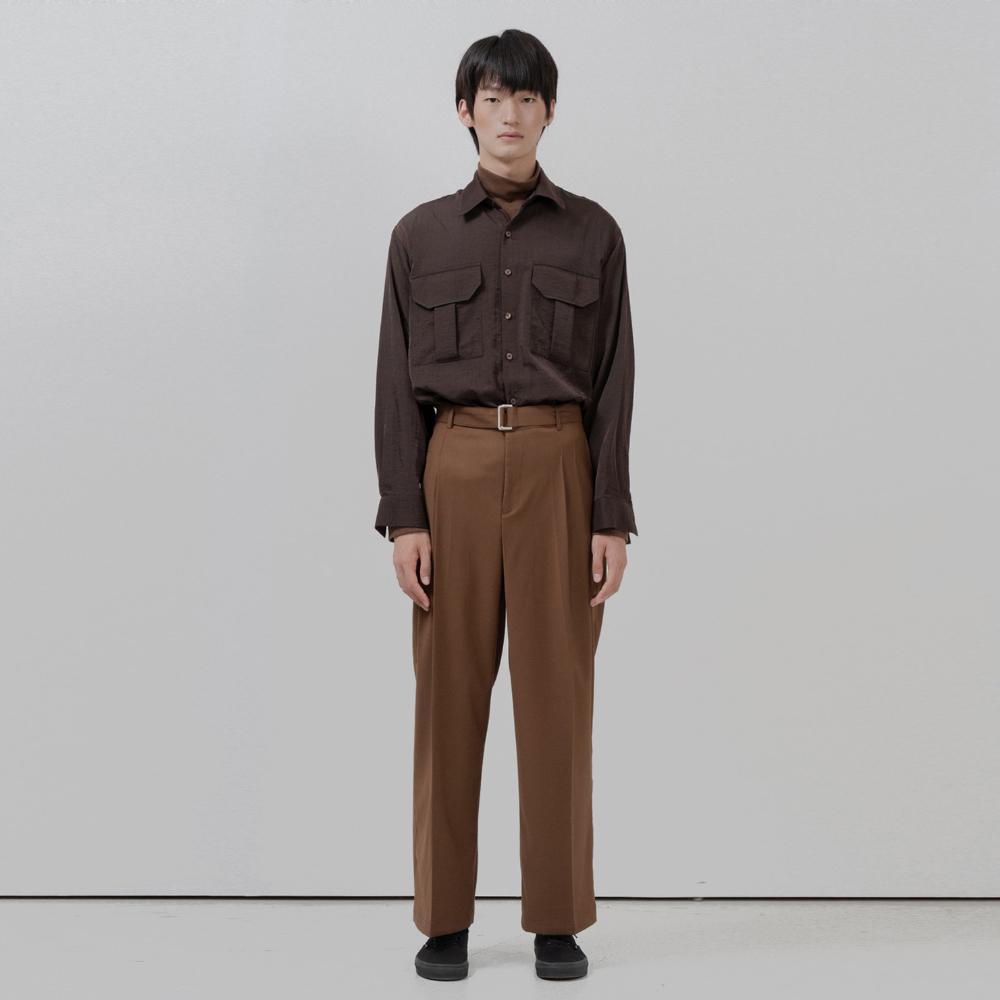 BF two pocket glossy shirt brown