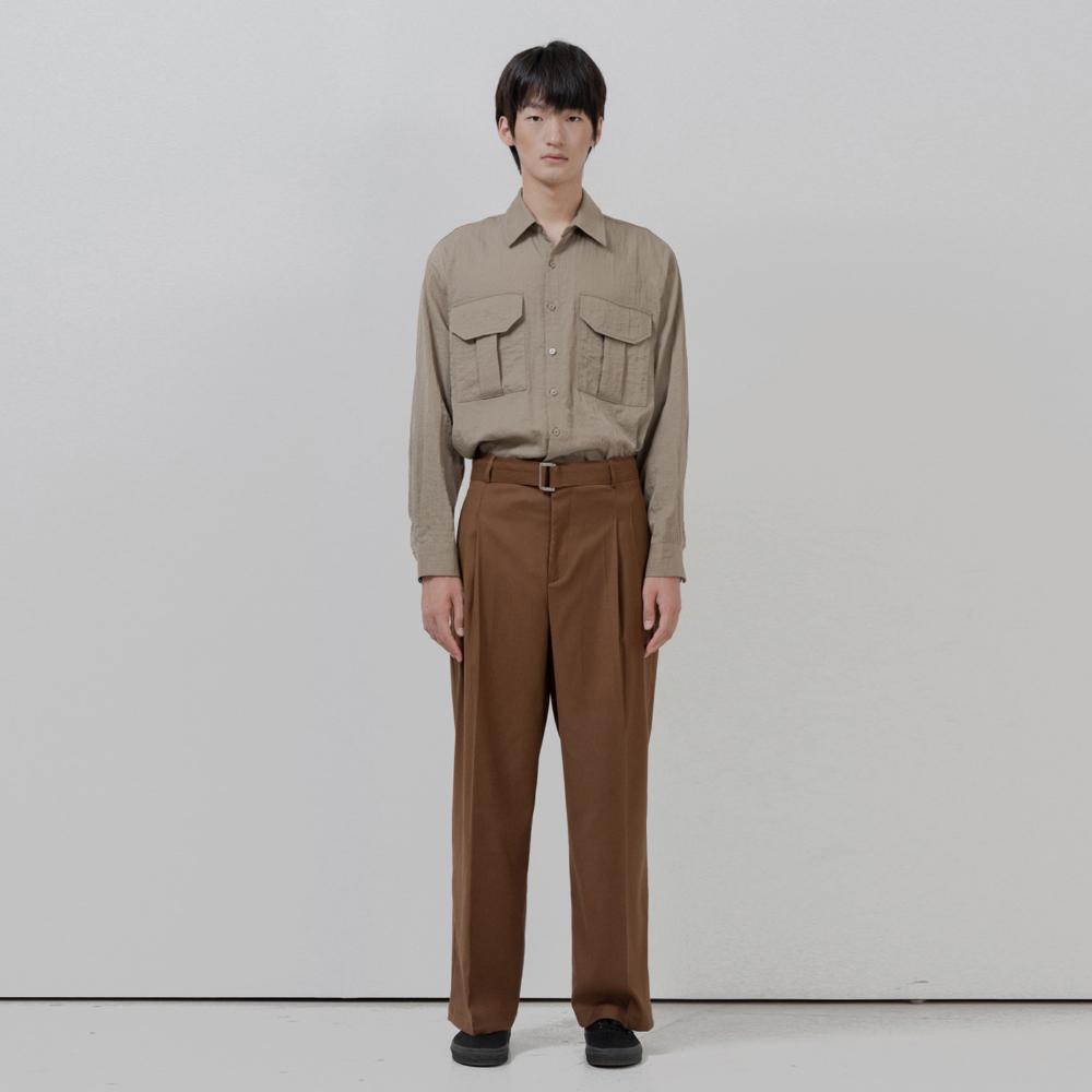 BF two pocket glossy shirt khaki