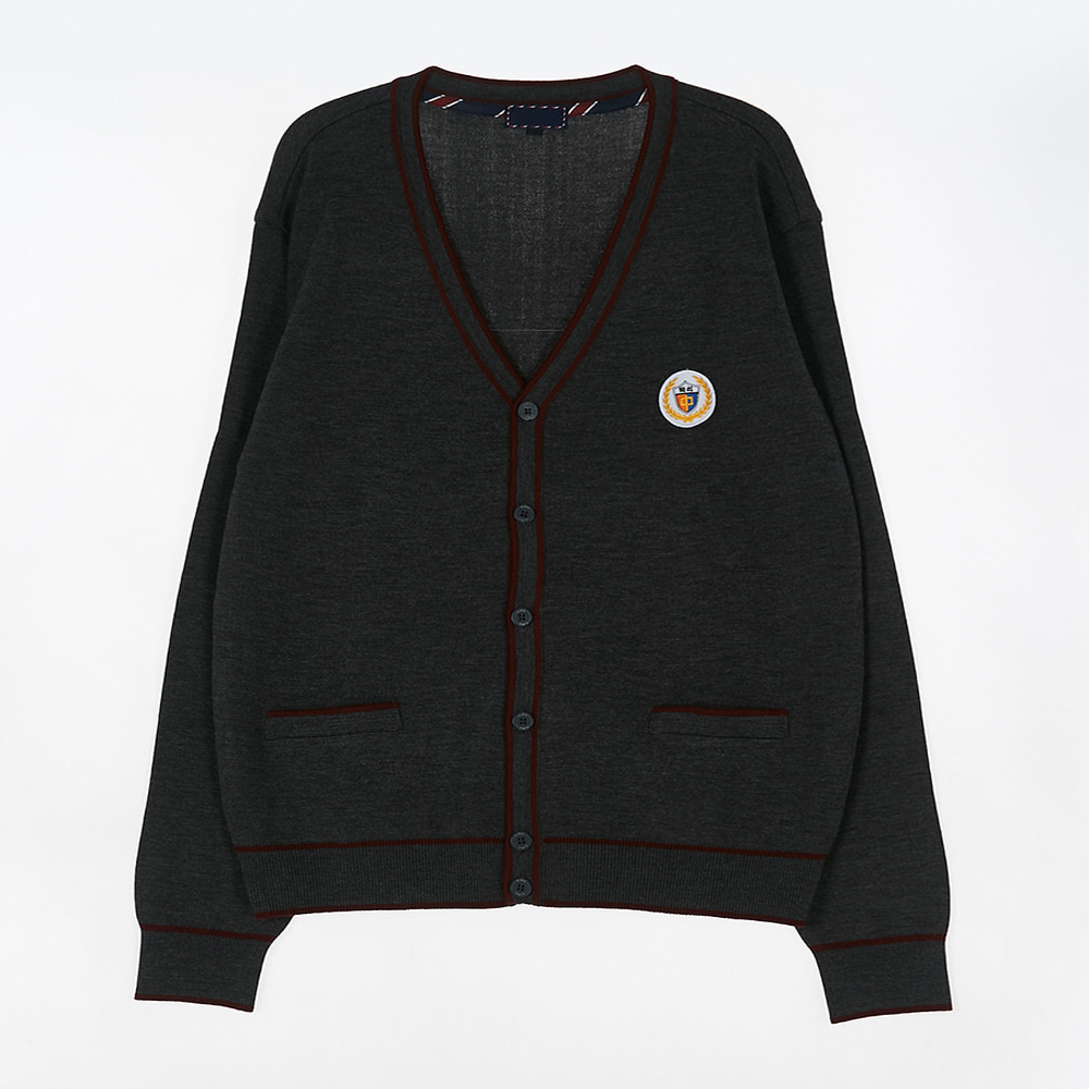 [교복아울렛] 진회색 와인 라인 가디건 (백석중) 교복