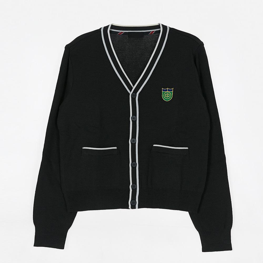 [교복아울렛] 화이트 두줄 포켓 가디건 (호평중) 교복
