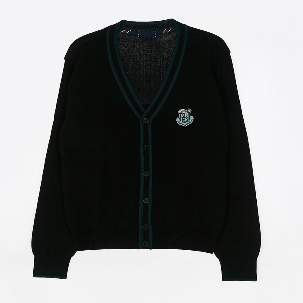 [교복아울렛] 그린 두줄 라인 가디건 (컨벤션고) 교복