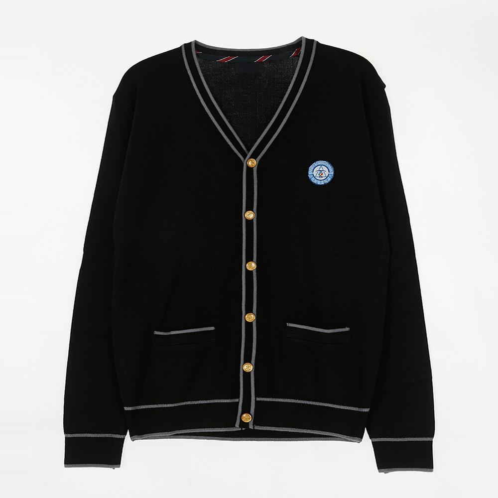 [교복아울렛] 두줄 라인 금장 단추 가디건 (하늘별중)