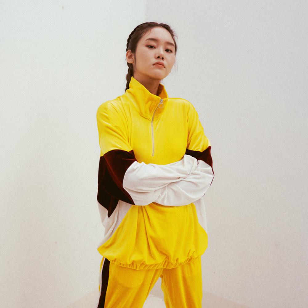 SL 벨벳 트레이닝 집업 탑 yellow
