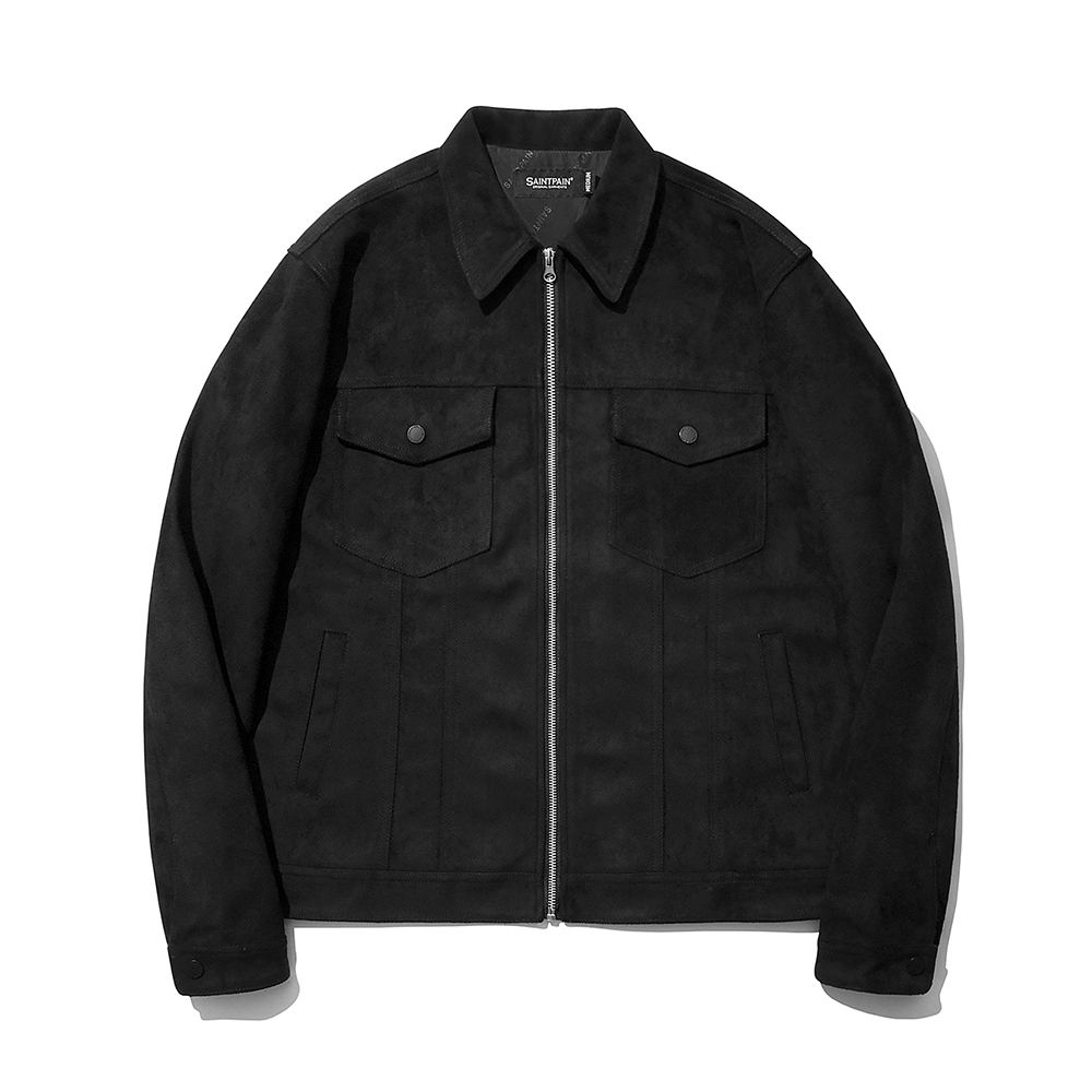 SP Suede Trucker Jacket-Black
